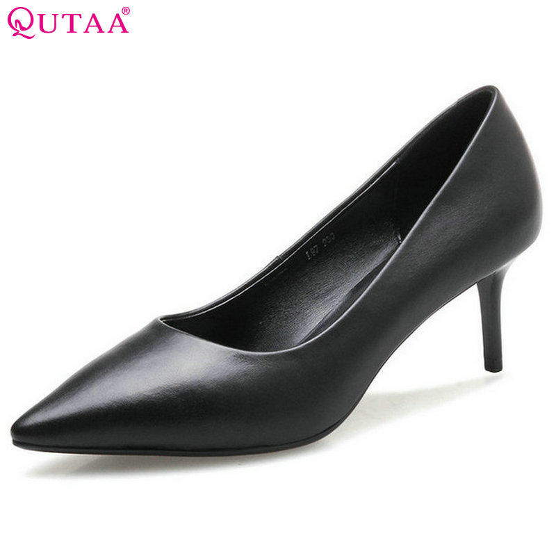 QUTAA 2017 Black Women Pumps Thin High Heel Pointed Toe Slip On Summer Genuine leather Elegant Ladies Wedding Shoes Size 34-39 2015 fashion women pumps high heel pointed toe shoes soft leather elegant ladies wedding shoes red black size 34 40
