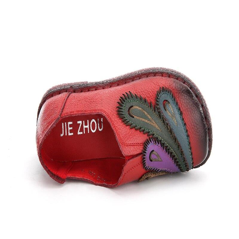 Véritable pourpre Femmes Bout Appartements Casual Style Paon En Rond De À Mode Cuir La Noir Chaussures Confortable Main Femme Ethnique rouge Fleur dRpxSI