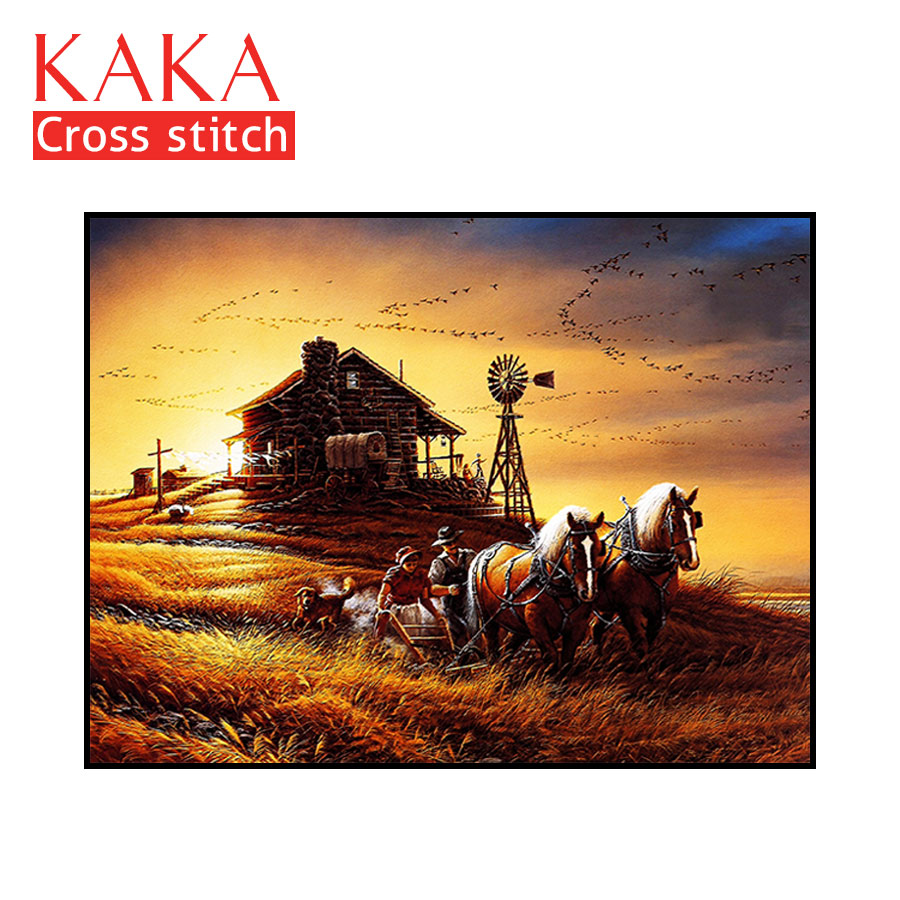 Cross stitch kits Embroidery needlework sets with printed pattern 11CT canvas for Home Decor Painting Landscape
