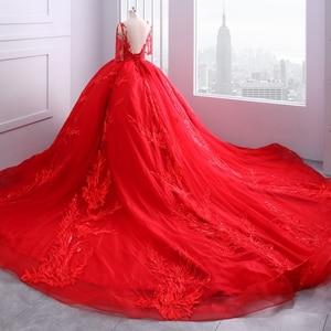 Image 3 - Miaoduo ontwerp Rode Trouwjurken Scoop Baljurk Kant Applicaties Parels Vestido De Novias Prinses Kathedraal Trein High end nieuwe