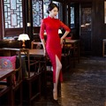 Free shipping Blend Cotton long Chinese Qipao Dress vintage chinese style cheongsam dress Chinese Long Oriental Dress Lace Qipao