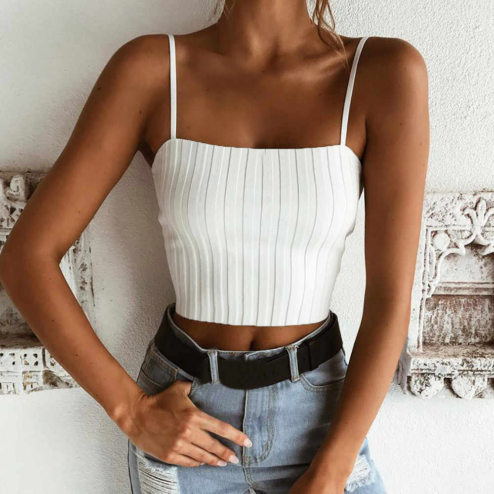 basic top women Slim Solid vintage Tank Top Vest Off Shoulder Halter Blouse aesthetic T-Shirt Camis camiseta mujer#sw