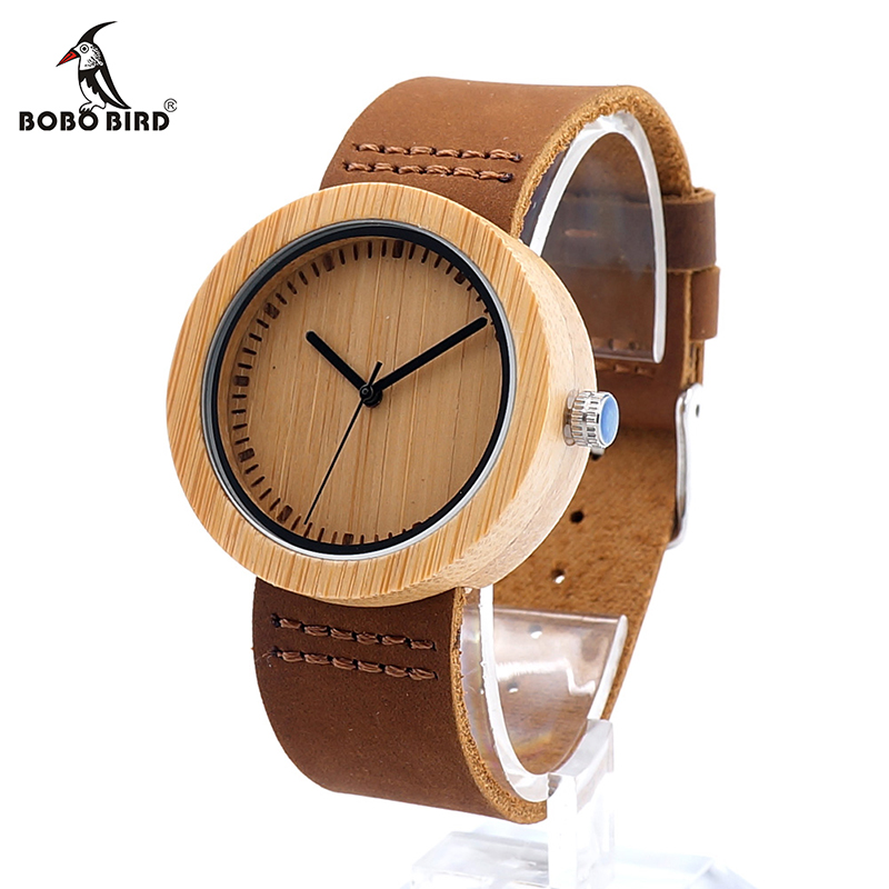 BOBO BIRD V-D18-1 Women Wooden Watch Round Wood Case Bamboo Dial Ladies Quartz-watch Clock In Gift Box Zegarki Damskie