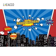 Laeacco Superhero Backdrop For Photography Baby Comic Birthday Party Photocall Family Shoot Photographic Background Photo Studio