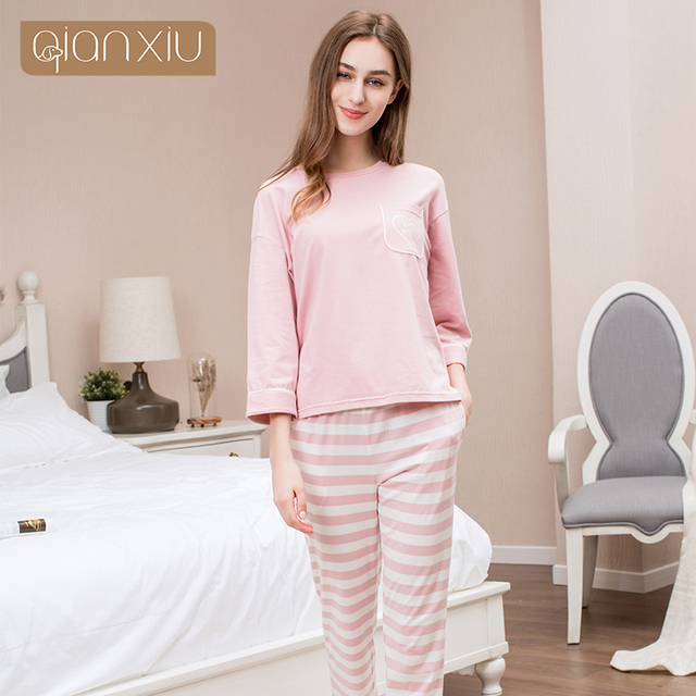 c53fe4a9b0 Qianxiu Solid Cotton Pajamas Ladies Pyjamas Pink Women Cotton Striped  Homedress Spring Full Sleeve Pajama Sets 17111