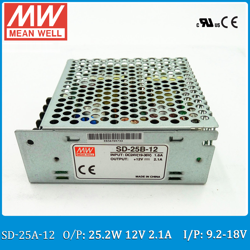 Original MEAN WELL converter SD-25A-12 Input 9.2~18V DC to Output 25W 2.1A 12VDC enclosed type converter genuine leadshine acs606 dc input brushless servo drive with 18 to 60 vdc input voltage and 6a continuous 18a current