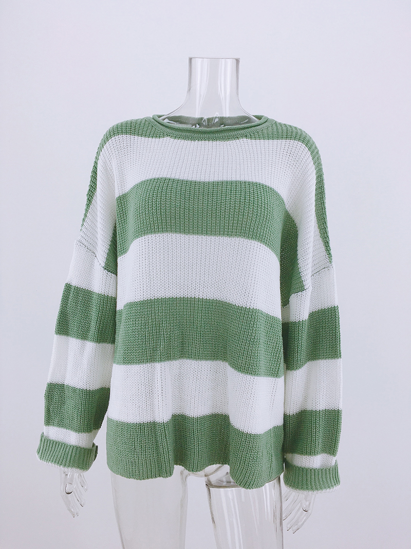Fitshinling Striped Loose Ladies Sweater Pullover 19 Autumn Winter New Arrival Green Jumpers Knit Sweaters Women Pull Femme 12