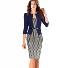 Womens Elegant Faux Twinset Belted Tartan Floral Lace Patchwork Summer Long Sleeve Pencil Dresses Office Wear Women Work Outfits