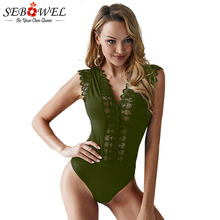 SEBOWEL Sexy V-neck Floral Lace Bodysuit for Woman Summer Female Hollow Out Sleeveless Body Top Clothes Ladies Bodysuits S-XL цены онлайн