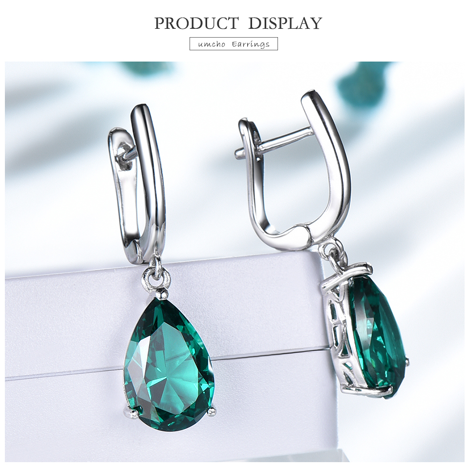 UMCHO ??Emerald 925 sterling silver earring for women EUJ094E-1-pc (3)