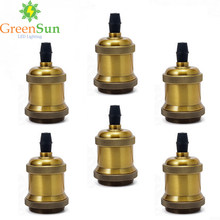 GreenSun 6Pcs Yellow Brass E27 Aluminum Retro Lamp Holder Vintage Screw Bulb Base Pendant Lighting Socket Ceiling Light Adaptor(China)