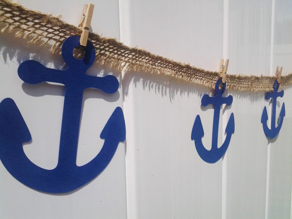 Buy under the sea burlap banner anchor for Cheap nautical decorating ideas