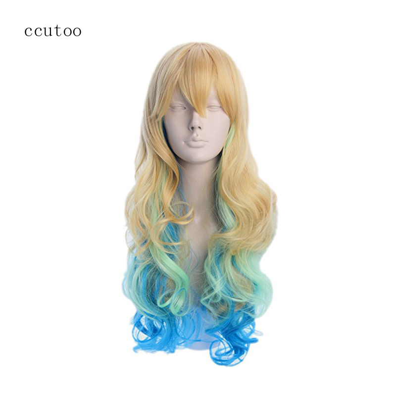 ccutoo 80cm Long Synthetic Hair Golden Blue Green Ombre Mix Miss Kobayashi's Dragon Maid Quetzalcoatl Lucoa Cosplay Full Wig