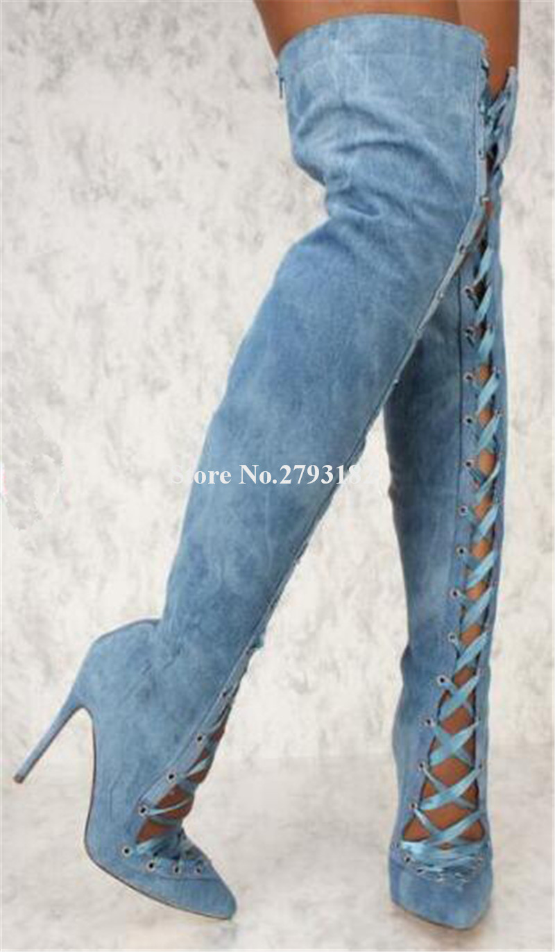 Ladies Sexy Fashion Pointed Toe Blue White Denim Over Knee Thin Heel Gladiator Boots Cut-out Lace-up Long High Heel Boots women sexy pointed toe blue denim lace up thin heel over knee gladiator boots side cut out high heel boots club dress shoes