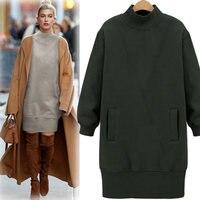 Autumn Winter Women Hoodies Fashion Long Thicken Fleece Warm Sweatshirt Turtleneck Outwear Coat