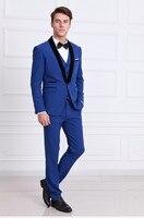 Заказ измерения классический мужской костюм Slim Fit джентльмен Королевский синий смокинг Свадебные Жених Пром Бизнес человек Костюмы 3 шт. ко