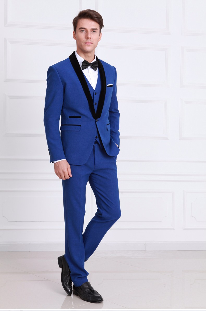 Custom made measure Classic Men Suit Slim Fit Gentleman Royal Blue Tuxedo Wedding Groom Prom Party Business Man Suits 3pcs Set