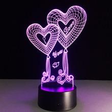 Купить с кэшбэком Novelty lamp Creative love 3D nightlight LED USB lamps romantic Christmas lover's gifts Kids gift Valentine's Day souvenir GiC
