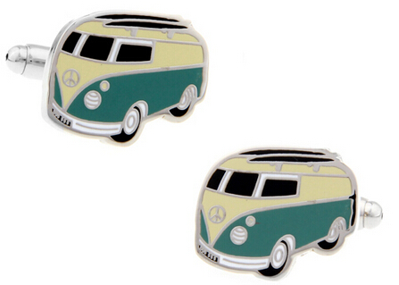 Cuff-Links Vintage Volkswagen Blue-Colour Wholesale Bus Copper Men for Transporter-Style