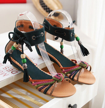 Style Plus Size Women's Sandals Wedges Low Heels sandalias beaded lace up summer sandals woman summer shoes size EU26-62 WSH526