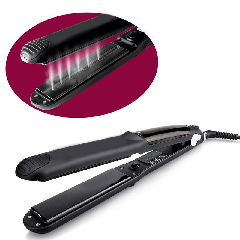 110V/220V Function Flat Iron Tourmaline Ceramic Vapor Professional Hair Straightener Steam Hair Straightener Dry Wet Hair km 2209 professional hair flat iron curler hair straightener irons 110v 220v eu plug tourmaline ceramic coating styling tools