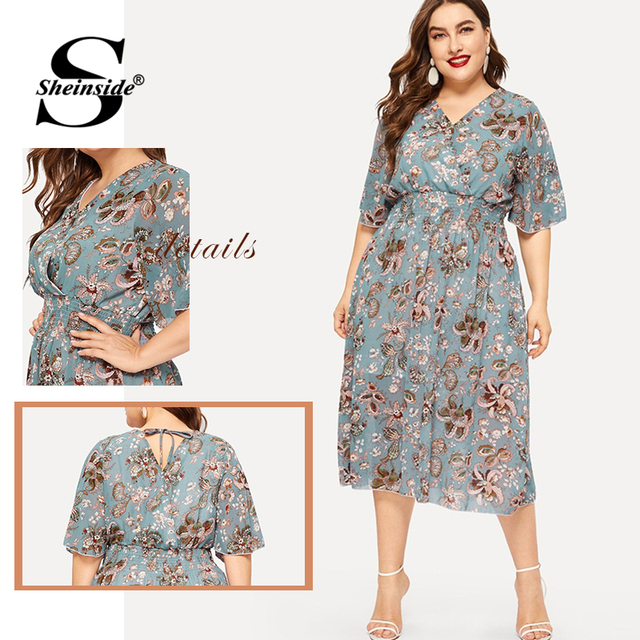 Sheinside Plus Size Elegant Floral Print Chiffon Dress Women 2019 Summer V Neck Elastic Waist Dresses Ladies Straight Midi Dress 5