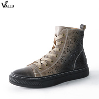 2018 VALLU Women Flat Boots Genuine Leather Retro Vintage Casual Shoes Cut Out Ankle Boots Green