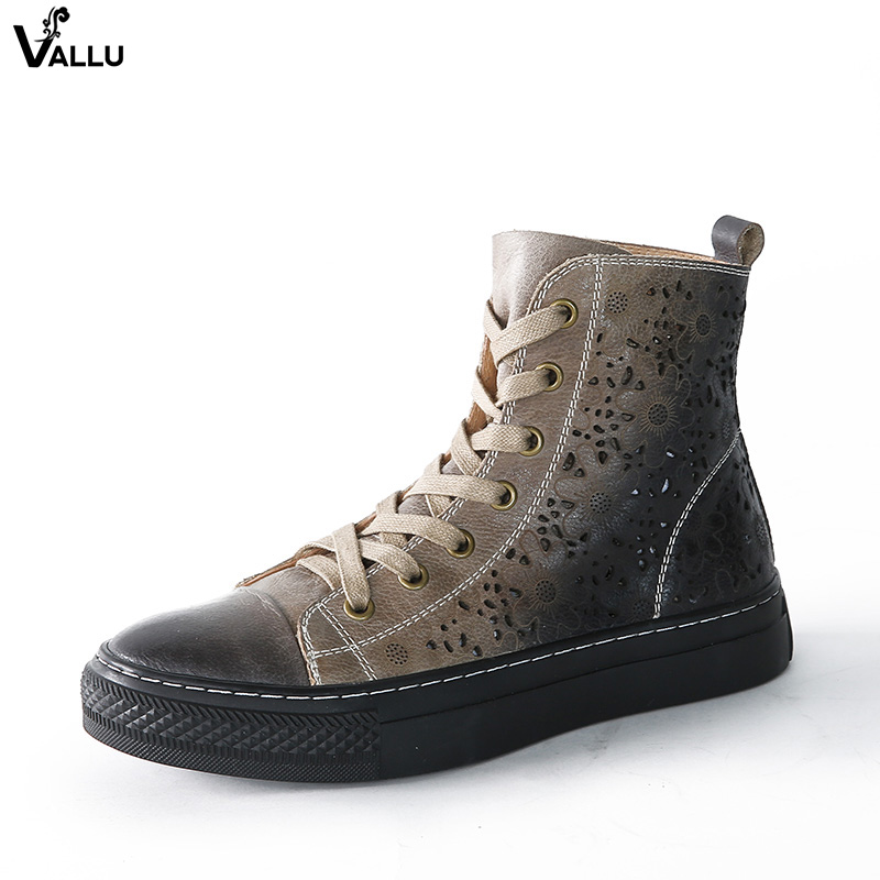 2018 VALLU Women Flat Boots Genuine Leather Retro Vintage Casual Shoes Cut Out Ankle Boots Green Gray Yellow green cut out halter half sleeves casual top