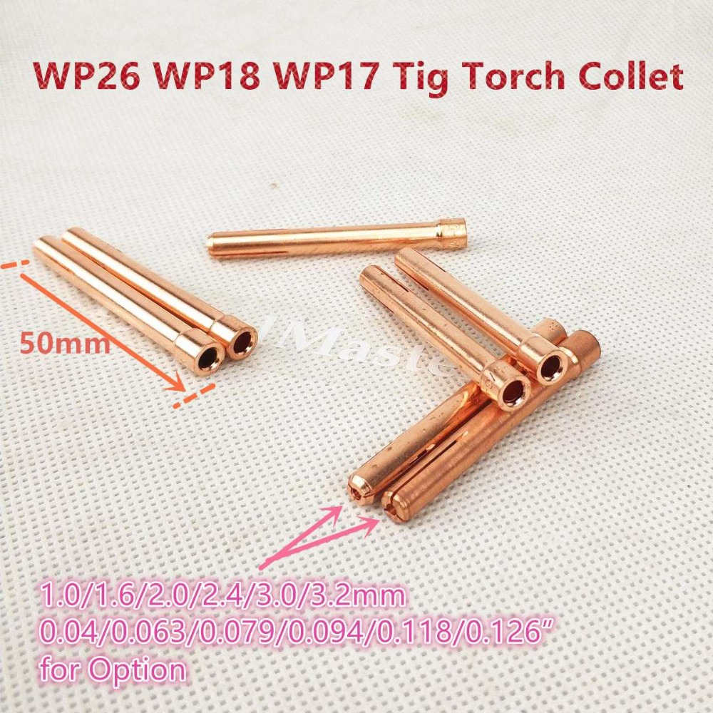 Tungsten Electrode Collet Tig Torch Consumables 1.0/1.6/2.0/2.4/3.0/3.2mm Collet For WP17 WP18 WP26 Tig Torch