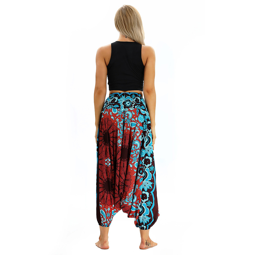 Women Men Pants Casual Woman High Waist Wide Leg Harem Trousers Baggy Boho Loose Aladdin Festival Hippy Jumpsuit Print Lady pant 54