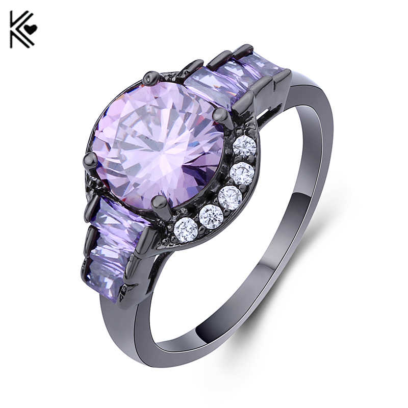Luxury Big Purple Round Ring Fashion Black Gold Filled Jewelry AAA Zircon Stone Rings For Women Vintage Wedding Ring Accessories