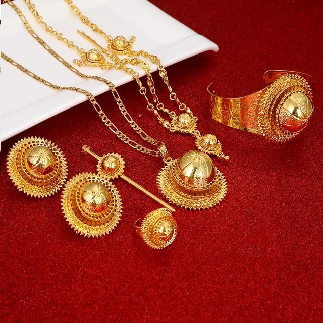 Ethiopian Jewelry Set Hair Piece Hair Pin Women Fashion Eritrea Habesha African Jewelry Set