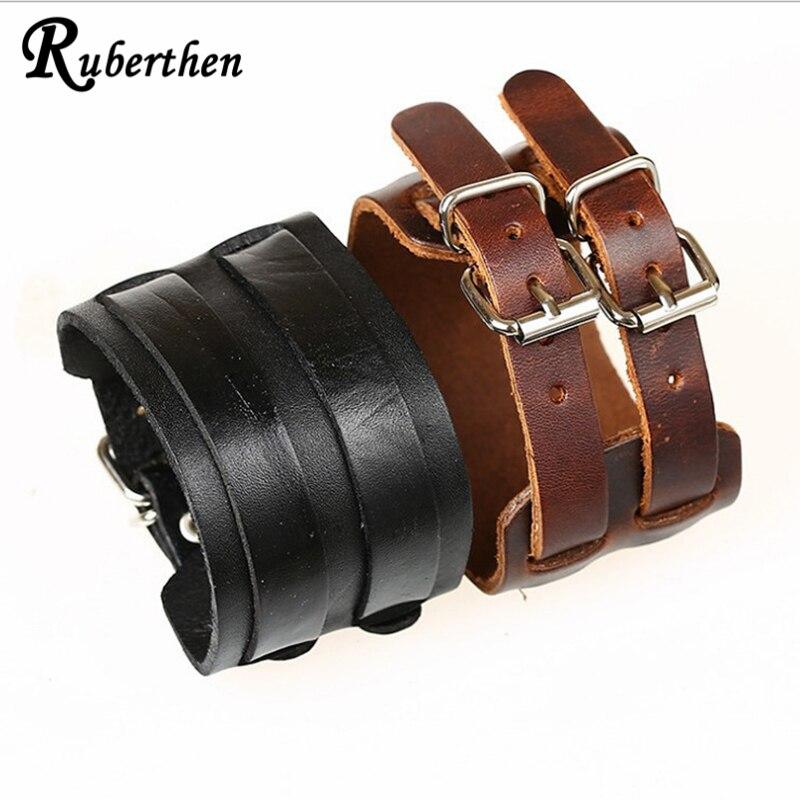 Ruberthen Punk 2017 Designer Leather Bracelet Wide Leather Double Buckle Bracelet For Men and Women Punk Leather Bracelet