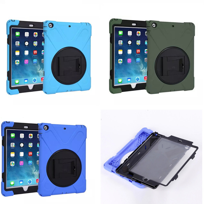 WES-HDW For Apple ipad Air Case Heavy Duty Shockproof PC Rubber Stand Back Cover For iPad 5 air1 With Screen Protector