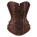 Steampunk Gothic Corset Brown/Black Jacquard Lace Up Boned Overbust Bustier Clubwear Body Shaper Plus size S-6XL