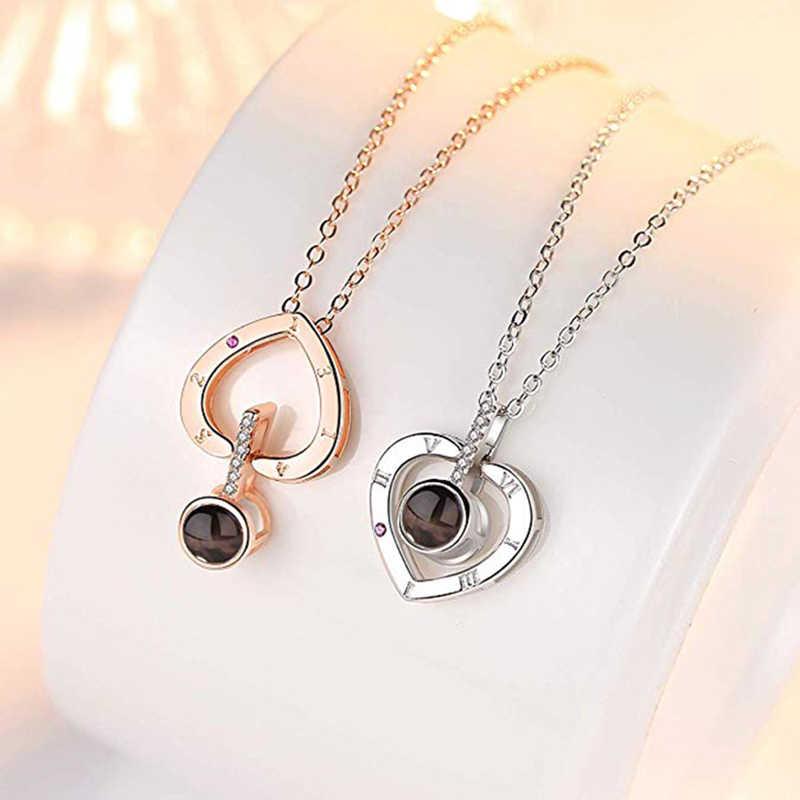 Aku Mencintaimu Kalung 100 Bahasa Hati Cinta Kalung Cinta Memori Proyeksi Liontin Kalung untuk Wanita Hadiah untuk Ibu hari