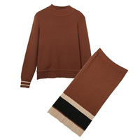 2018 winter new skirt sweater two pcs clothing set women suit casual knitwear pullover top long sleeve outfit stripe S M L