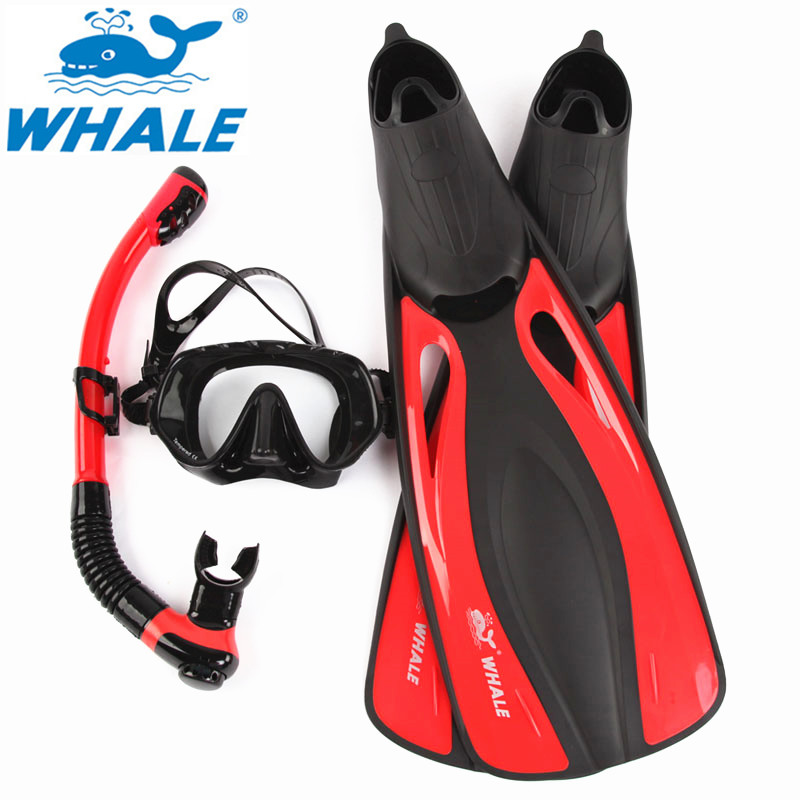 WHALE Professional Brand diving mask Diving Fins Snorkel Silicone Skirt Snorkel Scuba Goggle Great Vision Adult