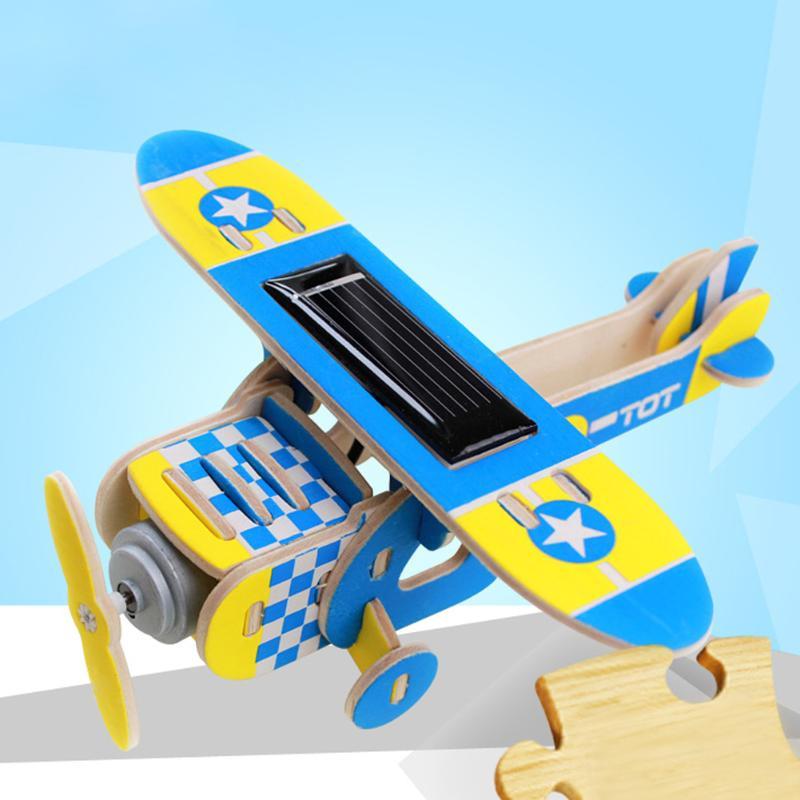 Солнечная DIY дерева самолета плоскости ребенка развивающие 3D Паззлы головоломки Паззлы игрушка студенты экспериментальной руководства Ма...