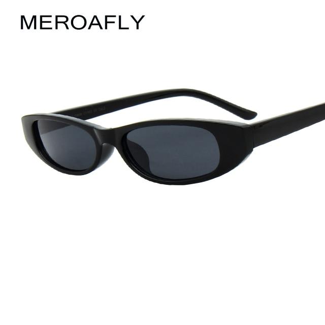 3f9a1e9404b MEROAFLY Women Small Cat Eye Sunglasses Red Frame Women Brand Designer  Ladies Oval Sun glasses Vintage Sexy Eyewear Shades UV400