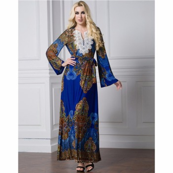 Islamic Abaya Dress Muslim Women Dress Long Sleeve Abaya Clothing Robe Kaftan Style Silk Lace