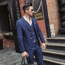 Mens Fashion Boutique Lattice Groom Business Wedding Dress Suits For Men Terno Masculino 3 Pieces Suit(Jackets+Vests+Pants)