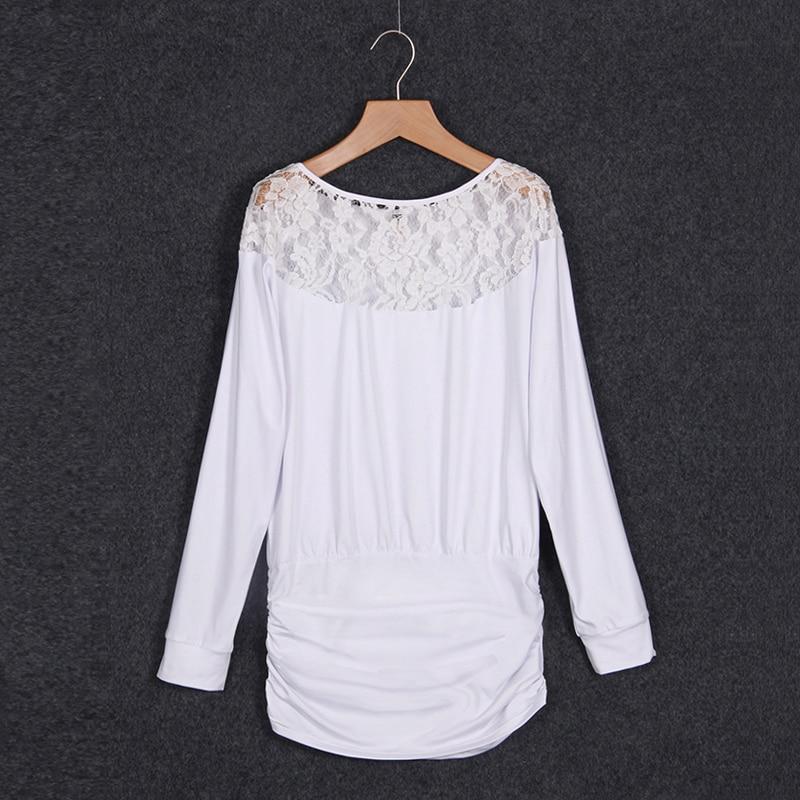 Mujeres gasa Blusas camisa Encaje costura suelta Camisas color ...