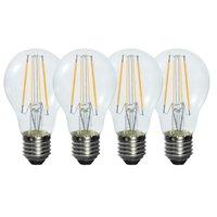 Pack de 4 Rétro Style 6 W E27 Chaud Blanc Verre Clair Led Filament Ampoule (580LM 2800 K, remplacer 50 W Lampe À Incandescence)