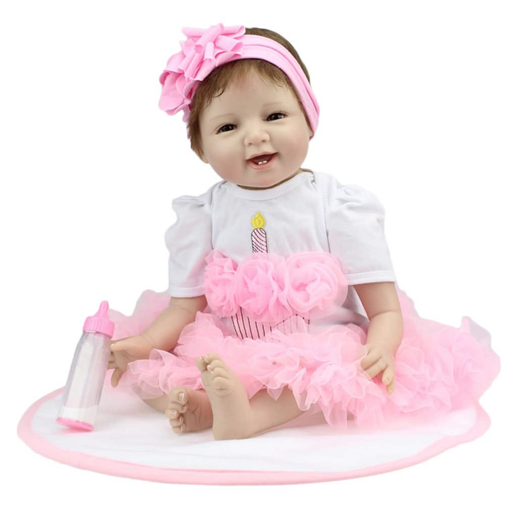 22 55cm Realistic Soft Silicone Reborn Baby Smile Girl Dolls Lifelike Newborn Doll Girl Gift Reborn Dolls Bonecas Babies Toys new desktop motherboard x58 for lga 1366 ddr3 16gb usb2 0 boards for quad core needle 8pin cpu motherboard