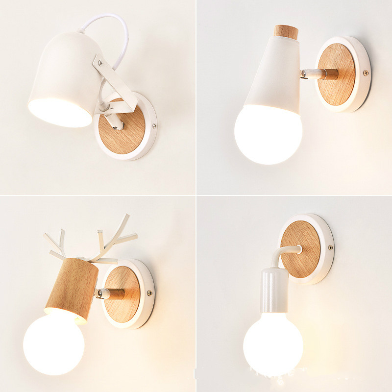 AP8 Nordic modern LED antler wall lamp personality eye protection study lamp solid wood bedroom bedside wall lamp