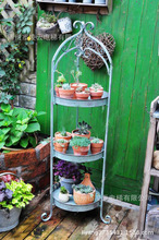 French country garden decorative wrought iron to do the old retro flower Succulents multilayer storage shelf groceries New