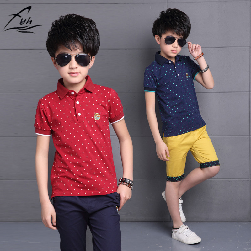 FYH 2018 Boys Clothes Summer Kids Polo T-Shirt + Shorts 2pcs School Boys Summer Clothing Set Polka Dot Tee Children Clothes Suit new 2016 summer cartoon children clothing set plaid kids shorts t shirts 2pcs boys sport suit set fit for 2 7year y01