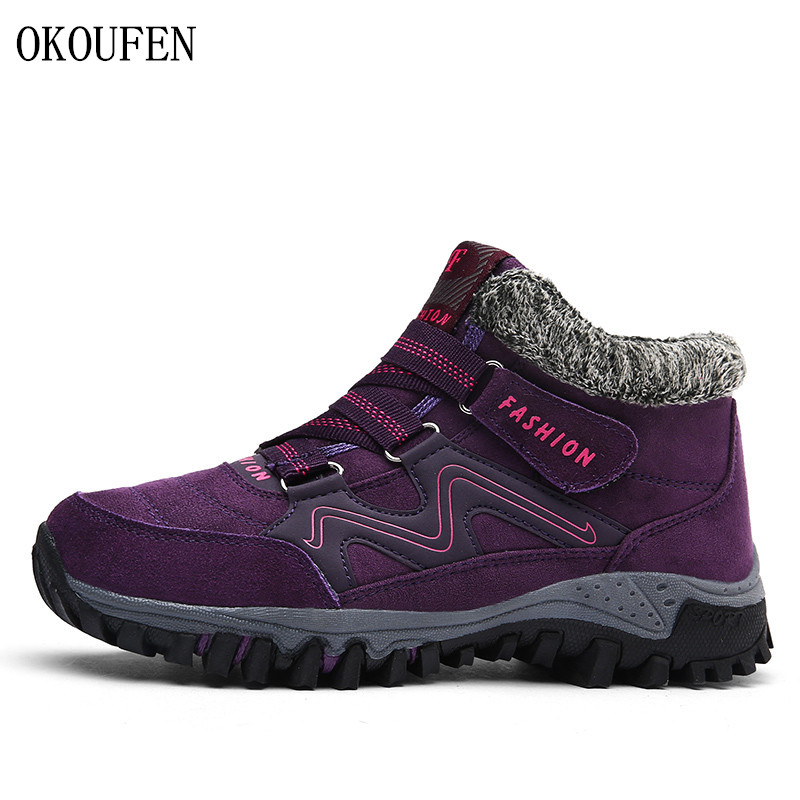 OKOUFEN Autumn Winter Outdoor Trekking Shoes Warm Plush Women Mountain Sport Boots Non-slip Climbing Sneakers Women Hiking Shoes mulinsen winter men s sports hiking shoes black blue brown sport shoes inside plush wear non slip outdoor sneaker 260113