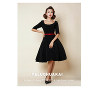 Autumn And Winter 2015 Vintage 50s 60s Black Dress Solid Fifth Sleeve Empire O Neck Black